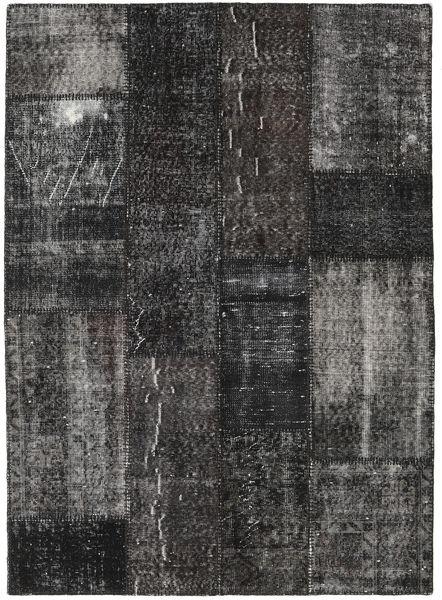 Patchwork Matto 143X199 Moderni Käsinsolmittu Tummanharmaa/Musta (Villa, Turkki)