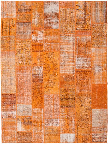 Patchwork Matto 276X368 Moderni Käsinsolmittu Oranssi/Vaaleanruskea Isot (Villa, Turkki)