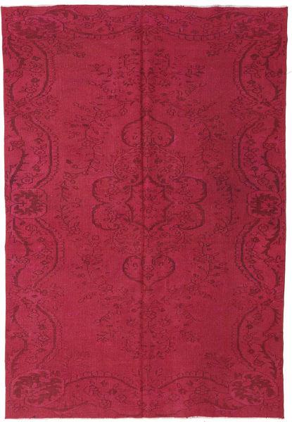 Colored Vintage Matto 193X273 Moderni Käsinsolmittu Tummanpunainen/Pinkki (Villa, Turkki)