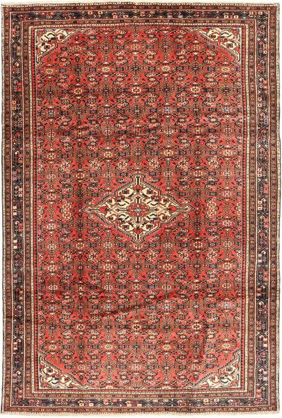 Hosseinabad Matto 208X314 Itämainen Käsinsolmittu Tummanpunainen/Tummanruskea (Villa, Persia/Iran)