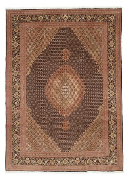 Tabriz 50 Raj Silkillä Matto 252X353 Itämainen Käsinsolmittu Ruskea/Tummanruskea Isot (Villa/Silkki, Persia/Iran)