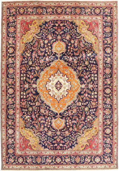Tabriz Matto 242X343 Itämainen Käsinsolmittu Tummanpunainen/Tummanruskea (Villa, Persia/Iran)