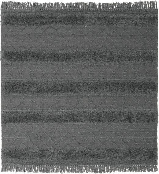 Kelim Berber Ibiza - Soft Grey Matto 200X200 Moderni Käsinkudottu Neliö Musta/Sininen/Tummanharmaa (Villa, Intia)