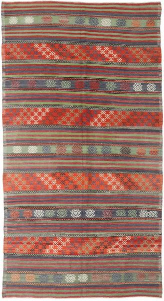 Kelim Turkki Matto 174X318 Itämainen Käsinkudottu Tummanpunainen/Tummanharmaa (Villa, Turkki)