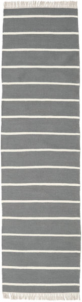 Dorri Stripe - Harmaa Matto 80X300 Moderni Käsinkudottu Käytävämatto Vaaleanharmaa/Tummanharmaa (Villa, Intia)