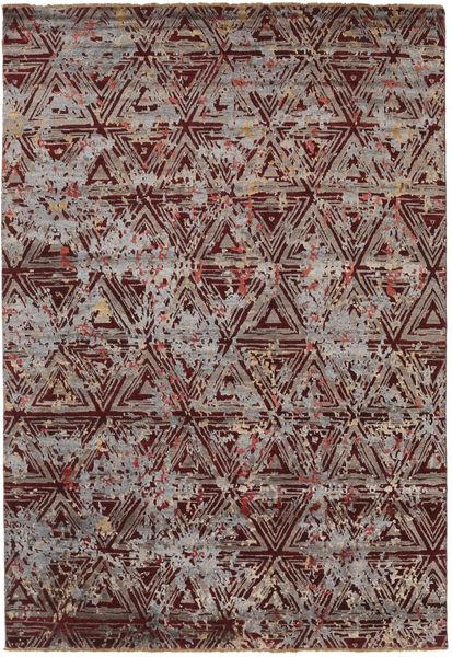 Damask Matto 206X299 Moderni Käsinsolmittu Tummanruskea/Vaaleanharmaa ( Intia)