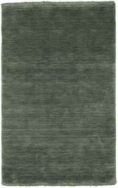 Handloom Fringes - Metsänvihreä Matto 100X160 Moderni Tummanvihreä/Tummanvihreä (Villa, Intia)