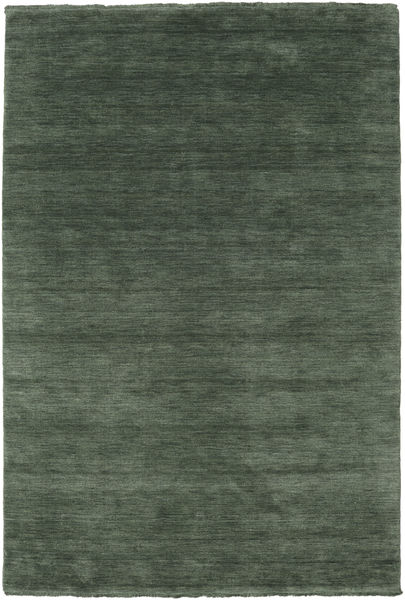 Handloom Fringes - Metsänvihreä Matto 160X230 Moderni Tummanvihreä/Tummanvihreä (Villa, Intia)