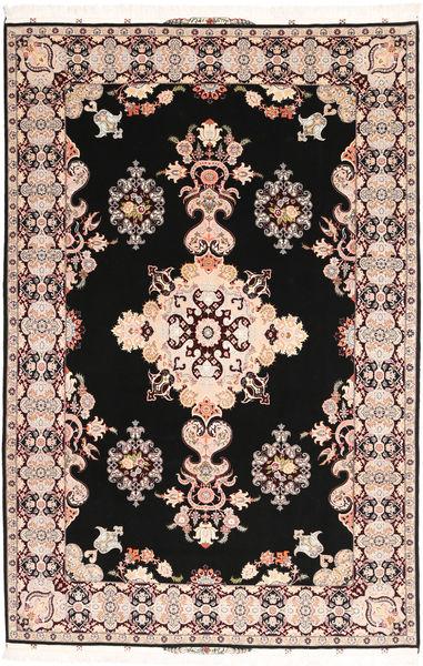 Tabriz#60 Raj Silkkiloimi Matto 202X305 Itämainen Käsinsolmittu Musta/Tummanruskea (Villa/Silkki, Persia/Iran)