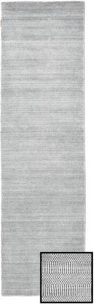 Bamboo Grass - Harmaa Matto 80X290 Moderni Käytävämatto Vaaleanharmaa/Valkoinen/Creme (Villa/Bambu Silkki, Turkki)