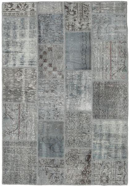 Patchwork Matto 139X201 Moderni Käsinsolmittu Tummanharmaa/Vaaleanharmaa (Villa, Turkki)