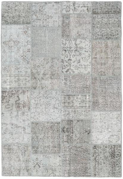 Patchwork Matto 158X230 Moderni Käsinsolmittu Vaaleanharmaa (Villa, Turkki)