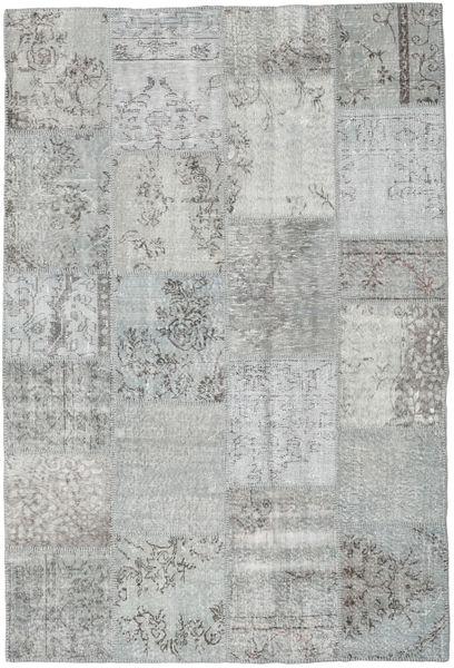 Patchwork Matto 159X234 Moderni Käsinsolmittu Vaaleanharmaa/Siniturkoosi (Villa, Turkki)