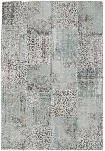 Patchwork Matto 160X232 Moderni Käsinsolmittu Vaaleanharmaa/Siniturkoosi (Villa, Turkki)