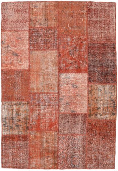 Patchwork Matto 159X231 Moderni Käsinsolmittu Tummanpunainen/Vaaleanpunainen (Villa, Turkki)