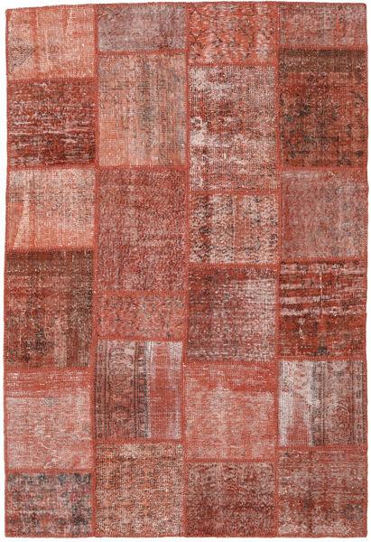 Patchwork Matto 158X234 Moderni Käsinsolmittu Tummanpunainen/Vaaleanpunainen (Villa, Turkki)