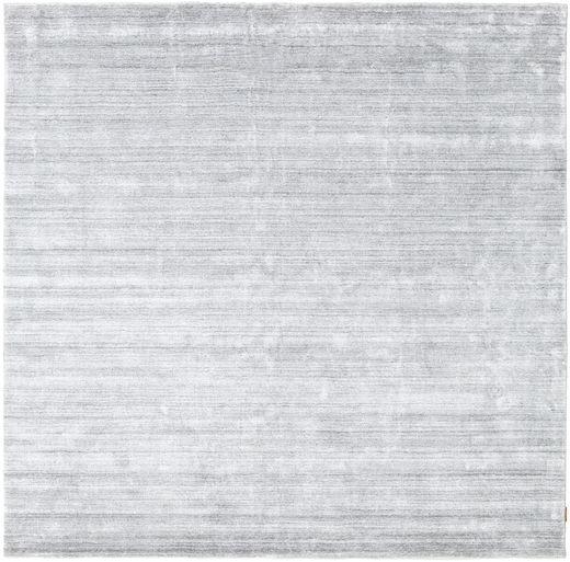 Bamboo Silkki Loom - Harmaa Matto 250X250 Moderni Neliö Valkoinen/Creme/Vaaleanharmaa Isot ( Intia)