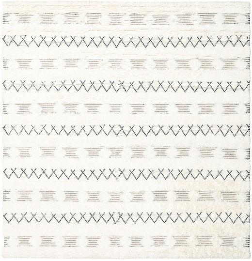 Shedir - Valkoinen Matto 250X250 Moderni Käsinkudottu Neliö Beige Isot (Villa, Intia)