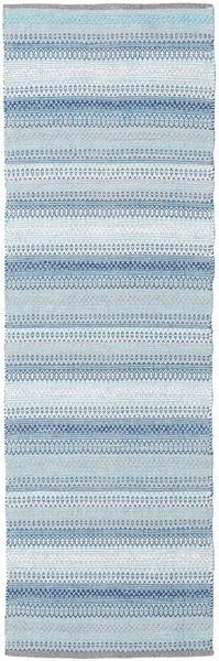 Wilma - Sininen Matto 80X250 Moderni Käsinkudottu Käytävämatto Vaaleansininen/Beige (Puuvilla, Intia)