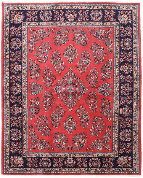 Sarough Matto 200X246 Itämainen Käsinsolmittu Tummanvioletti/Vaaleanharmaa (Villa, Persia/Iran)
