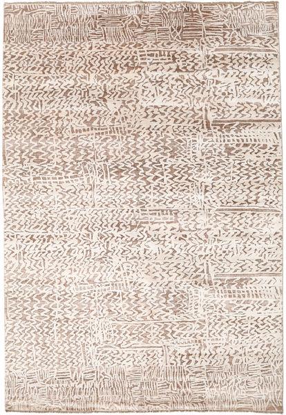 Damask Indo Matto 203X298 Moderni Käsinsolmittu Vaaleanharmaa/Beige/Valkoinen/Creme ( Intia)