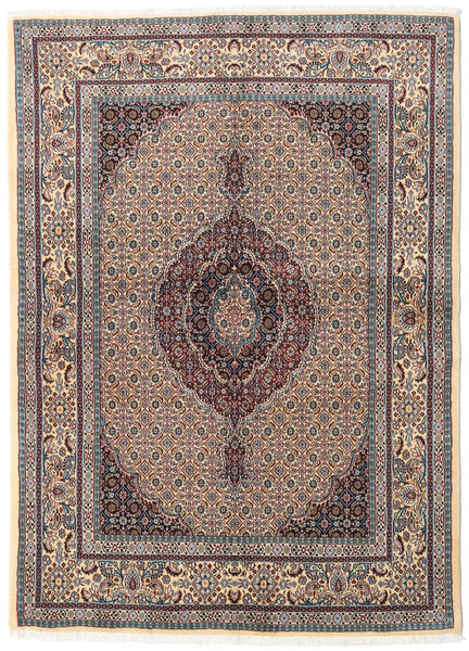 Moud Matto 146X200 Itämainen Käsinsolmittu Vaaleanharmaa/Vaaleanruskea (Villa/Silkki, Persia/Iran)