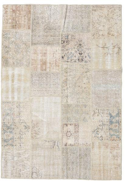 Patchwork Matto 159X230 Moderni Käsinsolmittu Vaaleanharmaa (Villa, Turkki)
