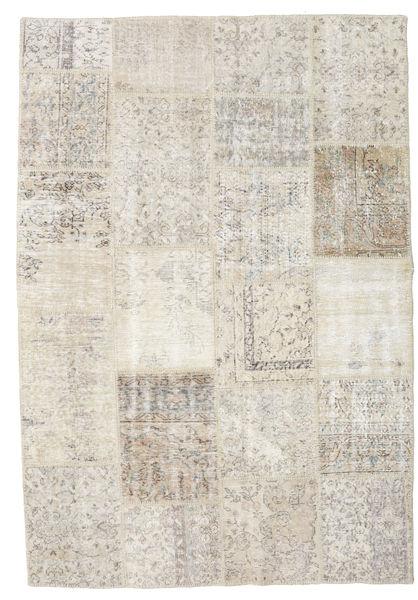 Patchwork Matto 156X230 Moderni Käsinsolmittu Vaaleanharmaa/Tummanbeige (Villa, Turkki)