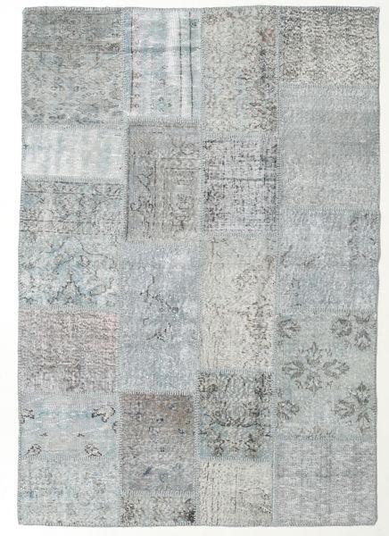 Patchwork Matto 140X202 Moderni Käsinsolmittu Vaaleanharmaa/Siniturkoosi (Villa, Turkki)