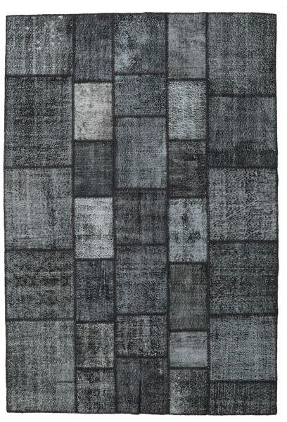 Patchwork Matto 203X300 Moderni Käsinsolmittu Tummansininen/Tummanharmaa/Vaaleanharmaa (Villa, Turkki)