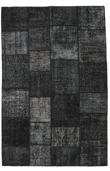 Patchwork Matto 196X298 Moderni Käsinsolmittu Musta/Tummanharmaa (Villa, Turkki)