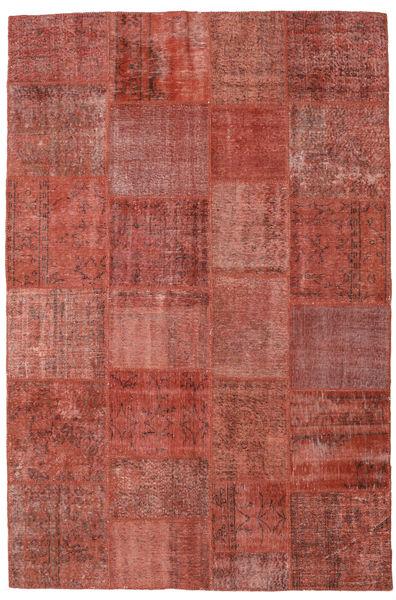 Patchwork Matto 197X300 Moderni Käsinsolmittu Tummanpunainen (Villa, Turkki)