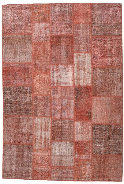 Patchwork Matto 204X301 Moderni Käsinsolmittu Tummanpunainen/Vaaleanpunainen (Villa, Turkki)