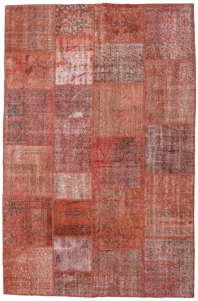 Patchwork Matto 197X301 Moderni Käsinsolmittu Tummanpunainen (Villa, Turkki)