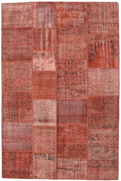 Patchwork Matto 198X300 Moderni Käsinsolmittu Tummanpunainen/Vaaleanruskea (Villa, Turkki)