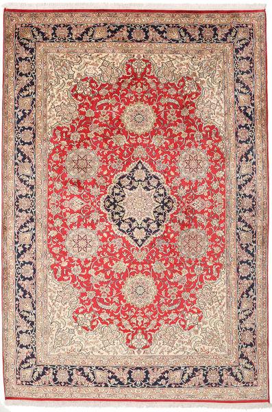 Kashmir 100% Silkki Matto 182X270 Itämainen Käsinsolmittu Tummanruskea/Ruoste (Silkki, Intia)