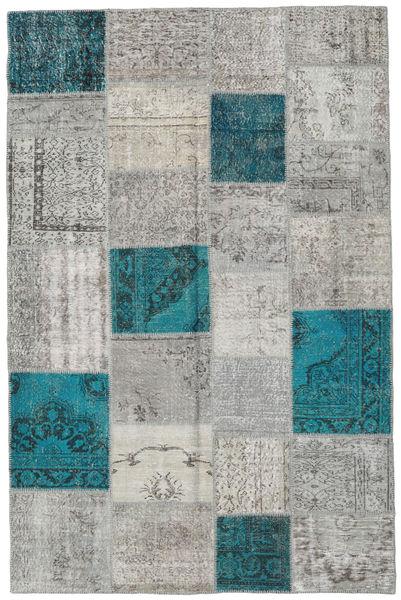 Patchwork Matto 197X303 Moderni Käsinsolmittu Vaaleanharmaa/Tumma Turkoosi (Villa, Turkki)