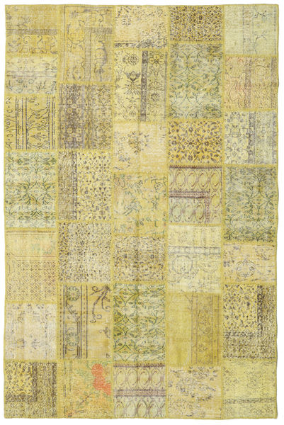 Patchwork Matto 198X301 Moderni Käsinsolmittu Vaaleanvihreä/Keltainen (Villa, Turkki)