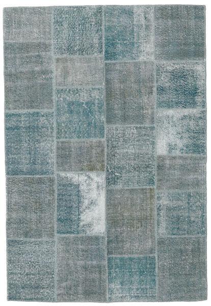 Patchwork Matto 157X231 Moderni Käsinsolmittu Tummanharmaa/Vaaleanharmaa/Sininen (Villa, Turkki)