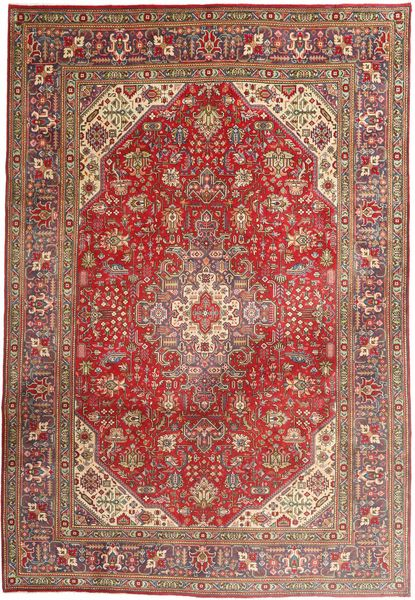 Tabriz Matto 203X298 Itämainen Käsinsolmittu Tummanpunainen/Ruskea (Villa, Persia/Iran)