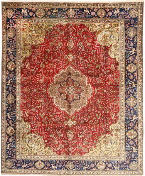 Tabriz Matto 308X380 Itämainen Käsinsolmittu Tummanruskea/Tummanpunainen Isot (Villa, Persia/Iran)