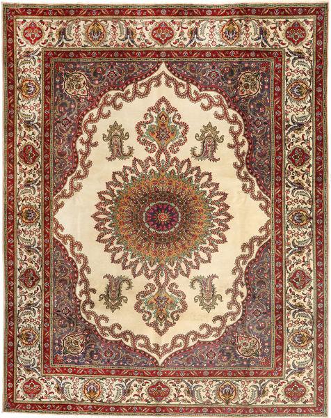 Tabriz Matto 307X390 Itämainen Käsinsolmittu Tummanruskea/Beige Isot (Villa, Persia/Iran)
