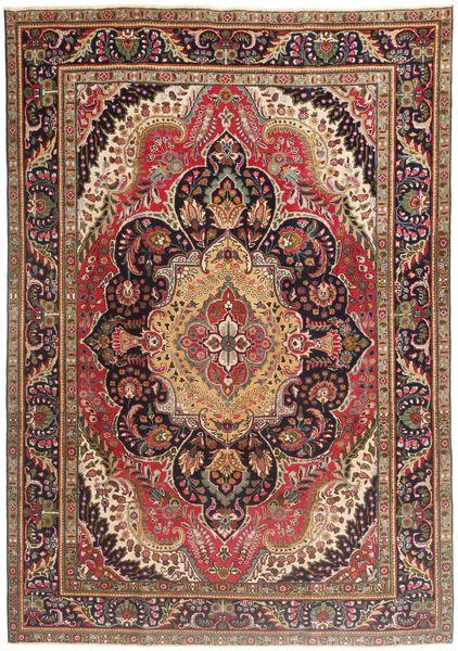 Tabriz Patina Matto 210X297 Itämainen Käsinsolmittu Tummanpunainen/Tummanruskea/Ruskea (Villa, Persia/Iran)