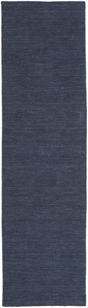 Kelim Loom - Denim Sininen Matto 80X300 Moderni Käsinkudottu Käytävämatto Tummansininen/Sininen (Villa, Intia)