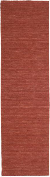 Kelim Loom - Ruoste Matto 80X300 Moderni Käsinkudottu Käytävämatto Tummanpunainen (Villa, Intia)