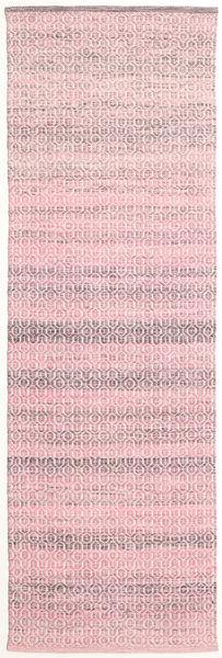 Alva - Roosa/Valkoinen Matto 80X250 Moderni Käsinkudottu Käytävämatto Vaaleanpunainen/Vaaleanvioletti (Villa, Intia)