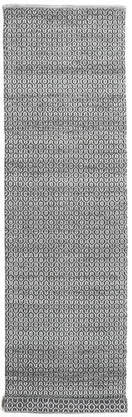 Alva - Harmaa/Musta Matto 80X350 Moderni Käsinkudottu Käytävämatto Vaaleanharmaa/Tummanruskea/Tummanharmaa (Villa, Intia)