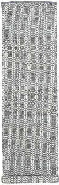 Alva - Tummanharmaa/Valkoinen Matto 80X350 Moderni Käsinkudottu Käytävämatto Vaaleanharmaa/Tummanharmaa (Villa, Intia)