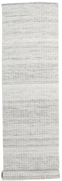 Alva - Harmaa/Valkoinen Matto 80X350 Moderni Käsinkudottu Käytävämatto Vaaleanharmaa/Valkoinen/Creme (Villa, Intia)