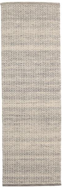 Alva - Ruskea/Valkoinen Matto 80X250 Moderni Käsinkudottu Käytävämatto Vaaleanharmaa/Beige (Villa, Intia)
